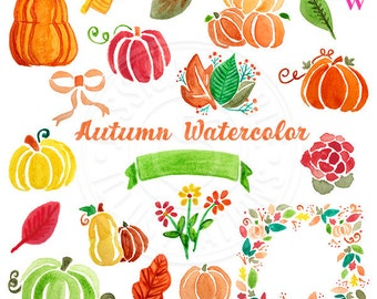 Autumn Watercolor Clipart, Digital Watercolor Autumn Clip Art, Pumpkin Watercolour Clip Art, Hand Painted Seasonal Fall Watercolor Elements