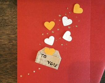 Hearts in letter to you / sending love / handmade cards