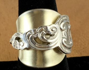 Gold spoon ring, statement ring, vintage ring, repurposed jewelry, sterling silver ring, silver ring, wrap ring, holiday gift for her