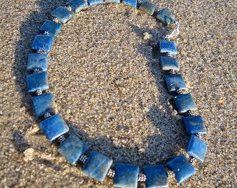 Denim Lapis Squares Necklace