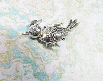 Vintage Silver Bird Brooch - BR-585 - Silver and Rhinestone Bird Brooch