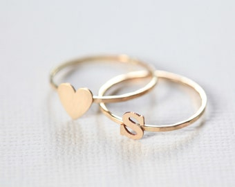 initial ring and heart ring set, monogram love rings, couple rings, dainty ring - gold filled