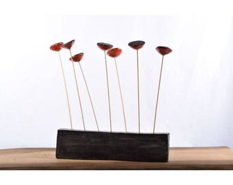 Red poppies, raku