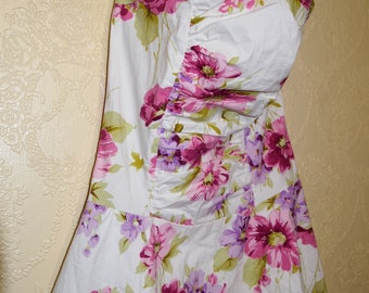 summer party dress Retro Dress Floral PINK PURPLE short Gown size 9 Bridesmaid Dress