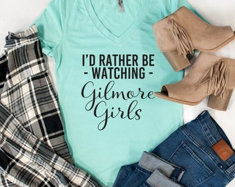 I'd Rather Be Watching Gilmore Girls Tshirt - Womens Clothing. Womens Tshirt. Graphic Tee - Tickled Teal