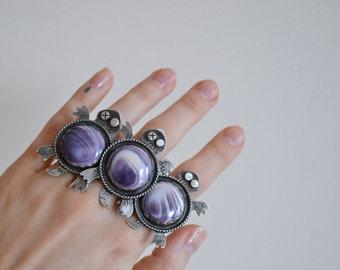 Your Custom One Eye Wampum Turtle Totem Silver Ring