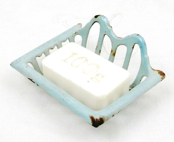 Small Antique Cast Iron Enameled Pale Blue Wall Hanging Soap Holder, French Chippy Enamel Mural Soap Bar Dish, Retro Enamelware Bathroom