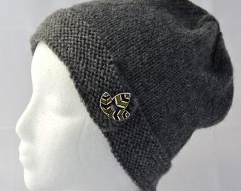 Dark Gray Cloche, Button Brim Hat, Hand Knit Beanie, Button Hat, Teen Beanie, Womens Hat, Knitted Gray Hat