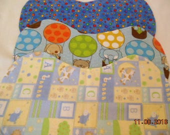 SALE --- Set of Three Gender Neutral Flannel Baby Burp Cloths/Changing Pads