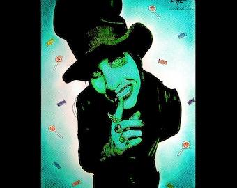 "Print 11x14"" - Marilyn Manson - Top Hat Pop Art Spooky Halloween Monster Creature Heavy Metal Industrial Candy Satan Gothic Devil Horror"