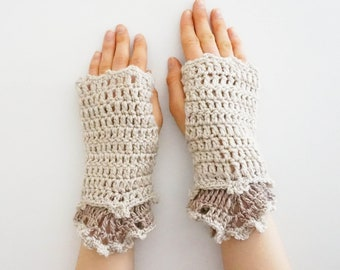Lace Arm Warmers, Ivory, beige hand painted merino wool, cuff, handmade, gift for her, woman's arm warmers, beige hand warmers, ivory