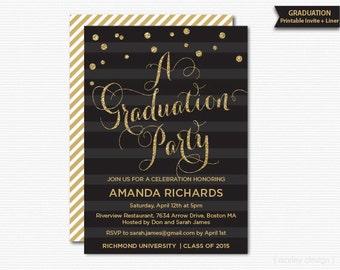 Gold Glitter Graduation Party Invitation Printable Graduation Invitation Celebration Digital Invite Glam Modern Black Stripes
