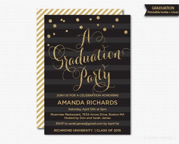 gold glitter graduation party invitation printable graduation