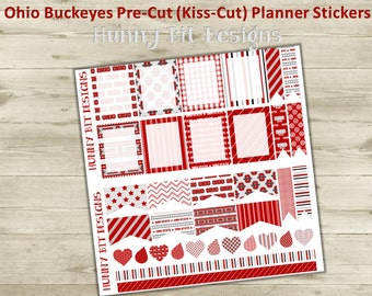 Erin Condren Planner Ohio Buckeyes Football Precut Kisscut Peel and Stick Stickers Flags Rectangle Boxes Labels, Scarlet, White, Gray