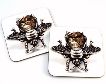Steampunk Coasters, Bee Coasters, Set of Two Coasters, Steampunk Bee Coasters
