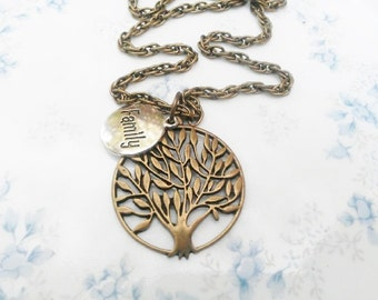 Tree of Life Necklace Mother Gift Family Tree Jewelry, Long Chain, Women Gift