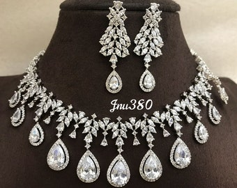 Indian CZ AD Gold & Silver Bollywood Fashion Necklace Bridal Ethnic Jewelry set 32