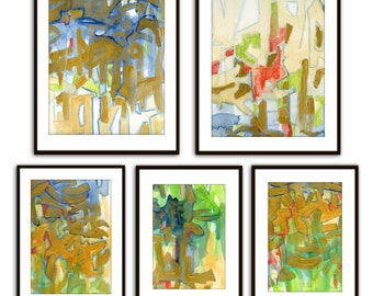 Original FIVE PAINTINGS abstract mid century expressionism, painting set greens, oranges, gold, blue red wall art, gallery wall