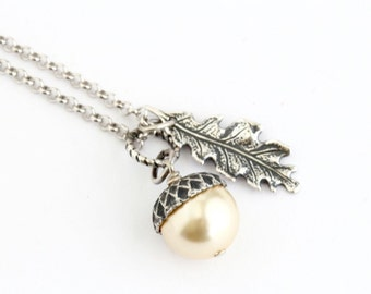 Pale Gold Pearl, Acorn Necklace, Silver Oak Leaf Charm, Sterling Silver Chain, Acorn Pendant, Gift For Mom, Gift For Woman, Rustic Necklace
