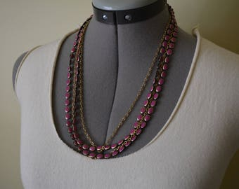 Long Multi Strand Necklace Pink Gold