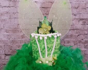 Green fairy tutu dress, forest fairy dress,green feather dress, green spring fairy dress, fairy birthday tutu feather dress
