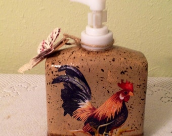 Rooster Lotion Dispenser Rooster Decor Housewarming Gift Country Decor  Rooster Lover Home Decor Handmade Rooster Kitchen