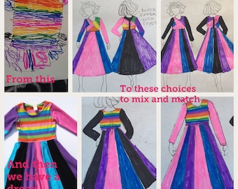Child's drawing turned into dress, Custom dress from kid's picture, Clothing from child's design