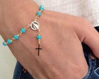 Gold Rosary Bracelet Delicate turquoise Rosary Style First Communion Rosary Bracelet Gold crucifix Cross Pendant catholic bracelet Rosary