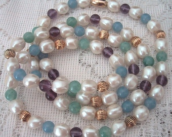 """Faux Baroque Pearl Necklace 34"""" Long Vintage Strand Pastel Beads Blue Green Purple Gold Tone Ribbed Beads Chic Professional Spring Summer"""