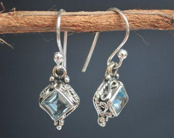 Blue Topaz Earrings * Diamond Shape Earrings * Sterling Silver Earrings * December Birthstone Earrings* BJE014