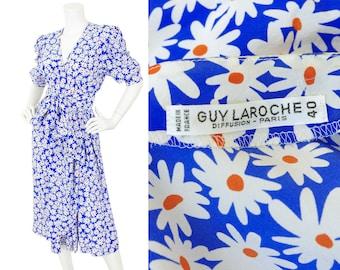 Guy Laroche 1970s Vintage Daisy Print Blue Silk Puff Sleeve Faux Wrap Dress Sz S M