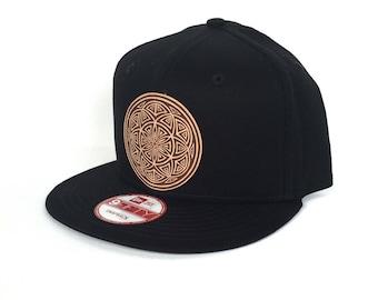 Seed of Life Mandala Snapback Hat -  Black New Era Snapback Hat - Sacred Geometry Hat - Baseball Hat - Festival Snapback - Leather Patch