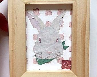 White Albino Rabbit Art, Bunny Art, Bunny Gifts, ACEO, Original