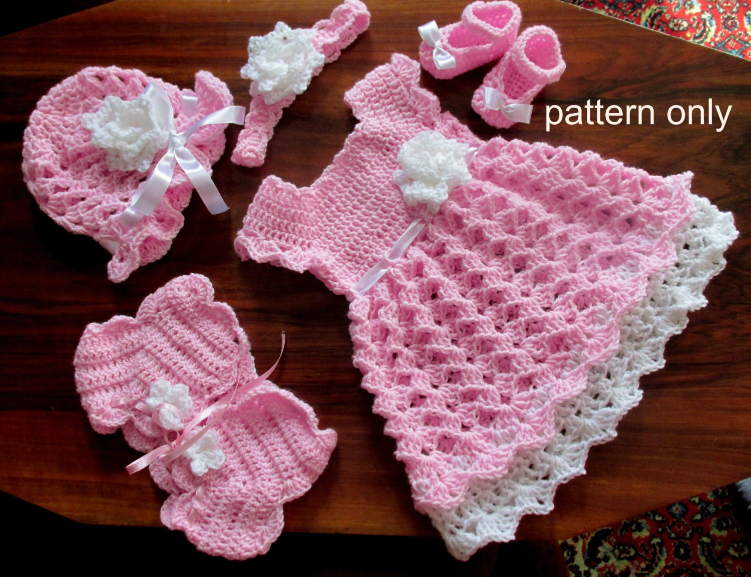 Baby dress set crochet pattern crochet baby dress shrug hat zoom bankloansurffo Choice Image