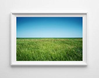 Country Decor Green Grass Landscape Print - Green Home Decor, Nature Decor, Canada Saskatchewan Prairies - Available Framed, Ready to Hang