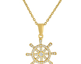 Ship's Wheel Pendant In 14K Yellow Gold Plated Sterling Silver