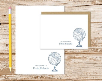 personalized globe stationery set . world globe notepad + note card set vintage antique globe notecard note pad stationary teacher gift set