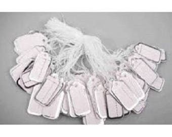 lot 100 white cotton thread 25 jewelry sales price tags x 14 mm silver white new