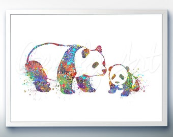 Panda Mommy and Baby Watercolor Art Print  - Home Living - Animal Painting - Panda Poster - Wall Decor - Home Decor - House Warming Gift [3]