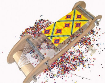 Bead Loom Kit, Beginners Bead Kit, Wooden Loom, DIY Bead Kit, Make Jewelry, Bead Weaving, Includes Beads, Thread, Needles, UK Seller