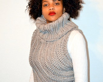 Free US Shipping. Dallas Grey Sweater/ Knit and Crochet Sweater Cowl/ Winter Fashion/ M/L size Cowl