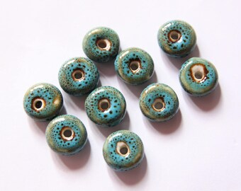 Blue Chinese porcelain beads, 10 * 5 mm set of 10