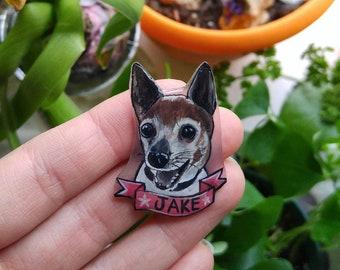 Custom Hand Painted Dog Memorial Gift Pet Portrait Pin Brooch