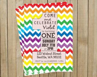 Rainbow Chevron One Rainbow First Birthday Invitation, Custom Digital File, Printable