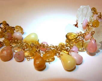 Peruvian opal bracelet- Yellow pink opal gemstone jewelry - Gemstone bracelet- Women opal jewelry- Gold filled stone bracelet- Women gift