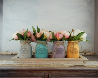 """Painted vases """"Shabby Chic Flowers""""-pink peonies Mix-Set Nr. 4 Cans medium-centerpieces-Home Decor-Flowers Centerpieces"""