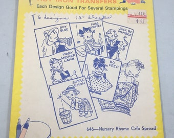 Vintage Uncut Aunt Martha's Hot Iron Embroidery Transfers Nursery Rhymes Crib Spread