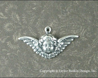 Antiqued Sterling Silver Plated Victorian Angel Cherub Charm with Loop (item 509-small AS) - 12 pieces
