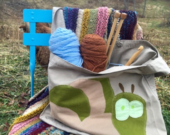 Upcycled Project Bag or Tote for art, yarn, crafts - applique caterpillar