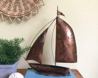 Vintage Copper Sailboat Sculpture, Brutalist Art, Mid Century Decor